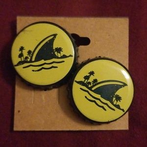 Landshark Bottle Cap Stud Earrings
